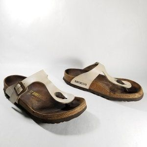 Birkenstock Shoes - Birkenstock Cream Thong Strap Cork Footbed Sandals